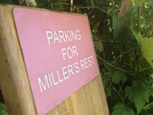 Reserved parking in front of cottage
