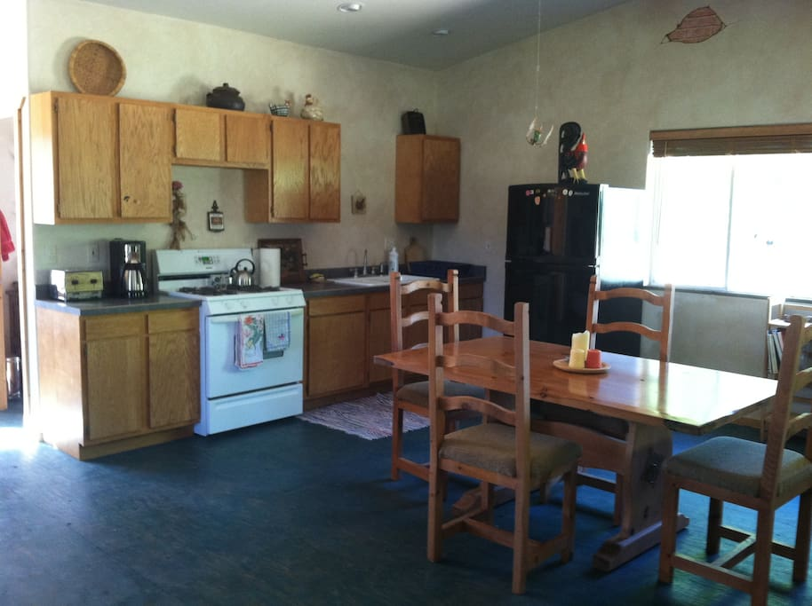 Fully equipped kitchen.  Bathroom, with bath and shower, just behind kitchen.