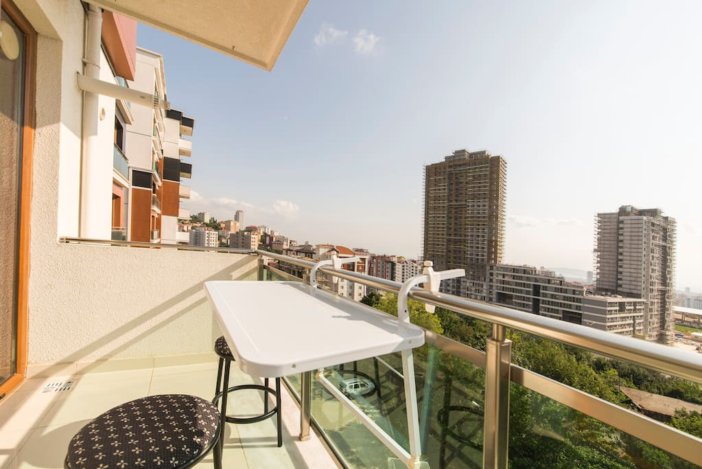 The spacious balcony overlooking the prince islands on marmara sea