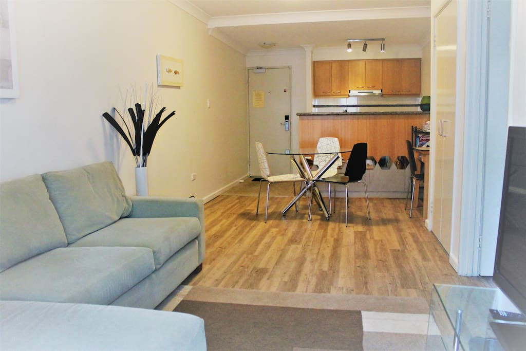 Living area with sofa, desk and dining table. Fully equipped kitchen. Cable TV.