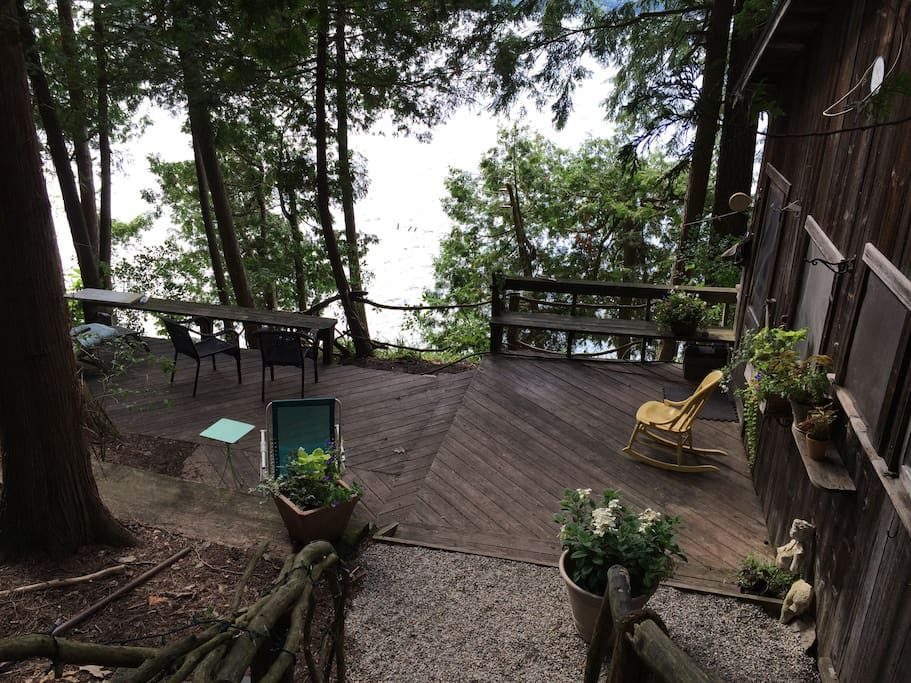 View of deck leading to cottage.