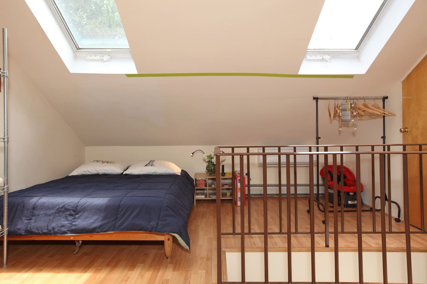 Queen size bed, spotless room with two bright skylight's windows