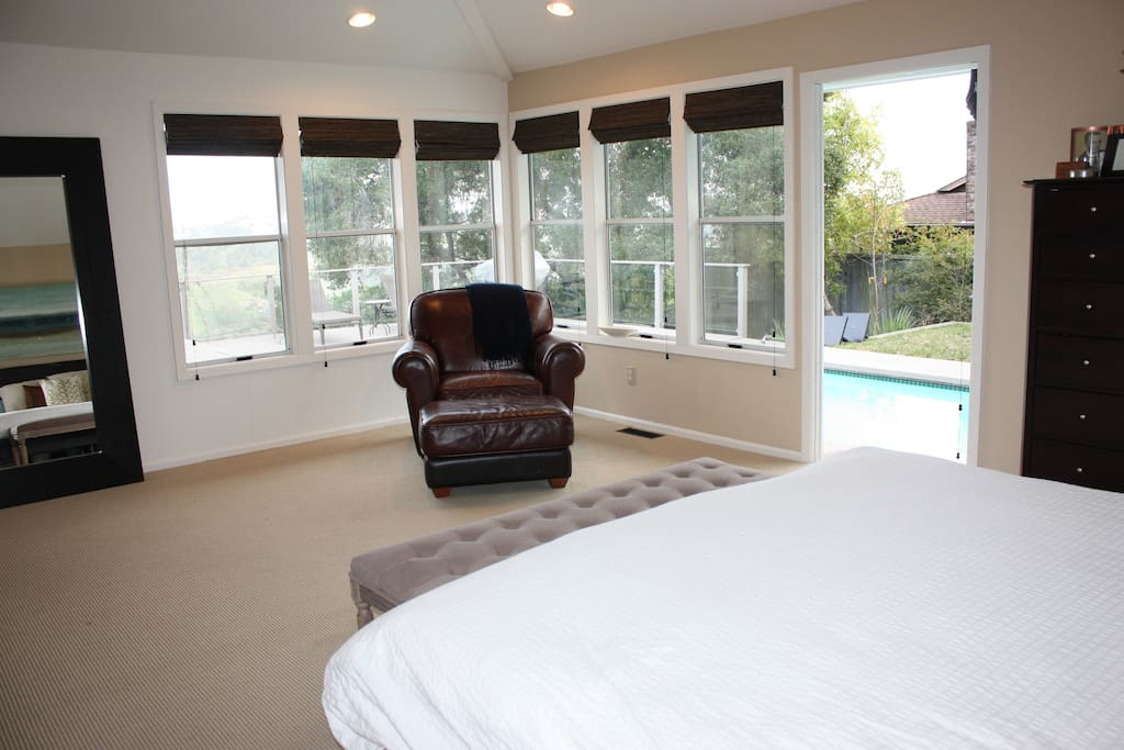 Master Bedroom access to pool and back deck.