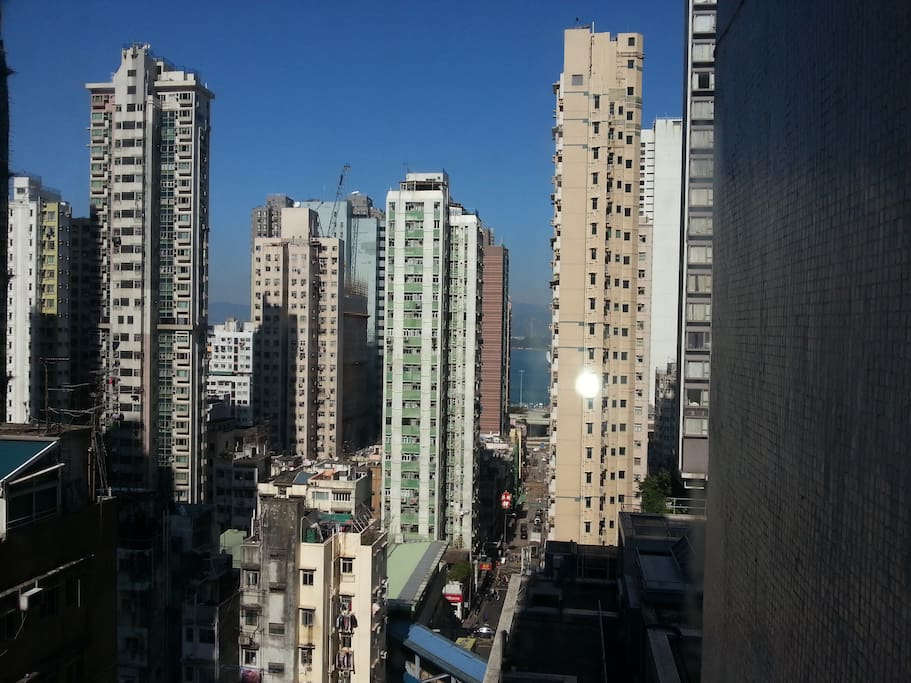 View out the dining room / lounge window towards Victoria harbour.