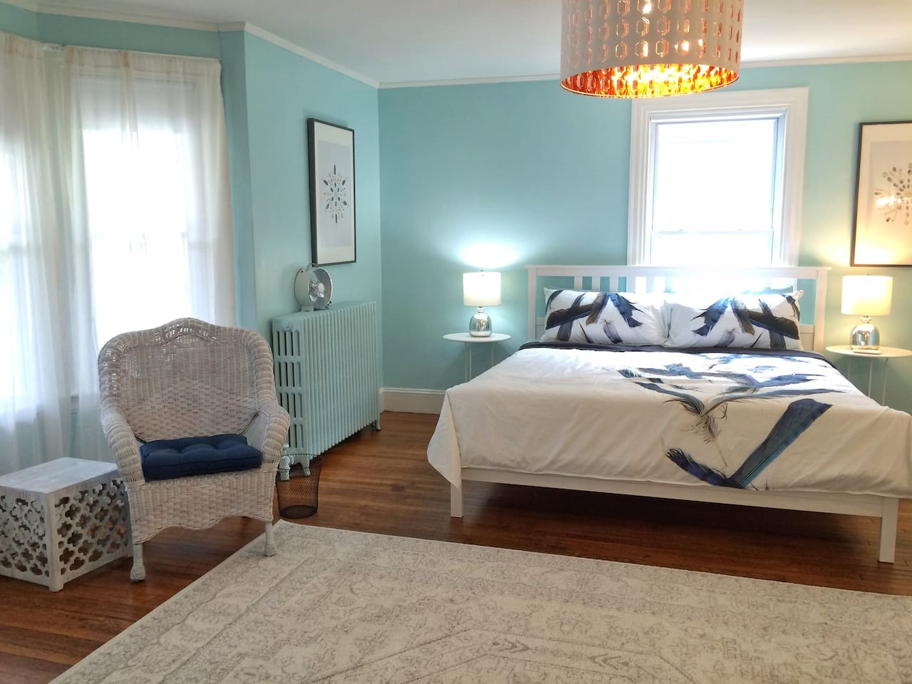 First bedroom with king bed.