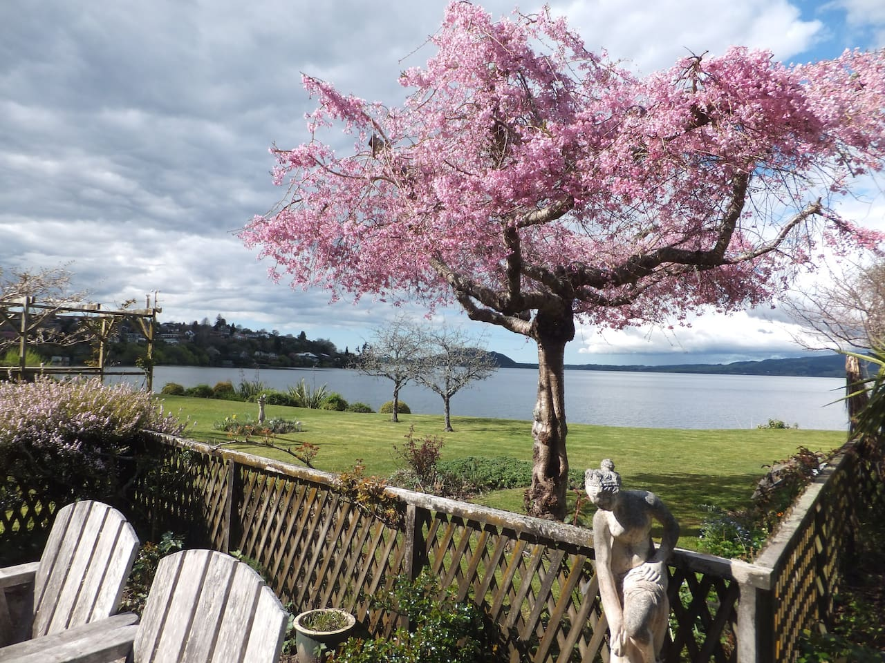 Spring view from the courtyard of   Lake Rotorua