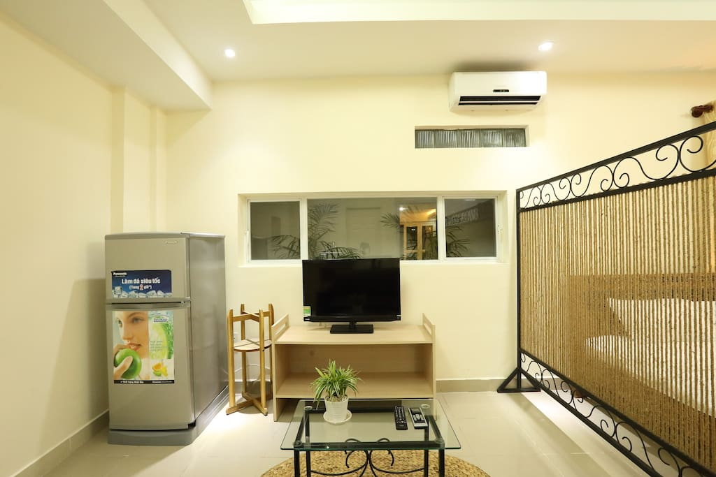 The apartment is Fully Furnished with Free Wi-fi, Air Conditioning, Wardrobe and TV.