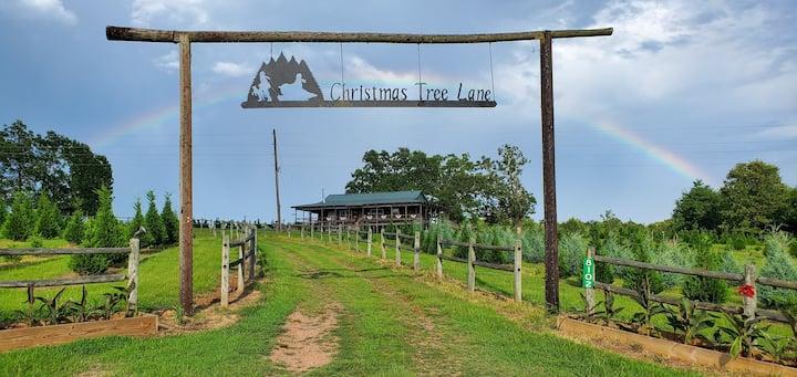 The Christmas Cabin on a real Christmas tree farm!