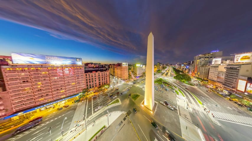 6 blocks away: Av. 9 de Julio and Obelisco.