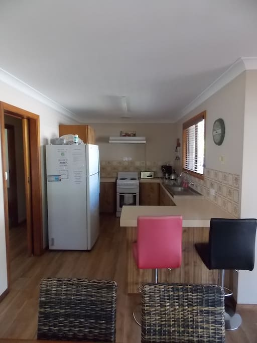 Fully self contained kitchen with oven, hotplates, microwave and large fridge