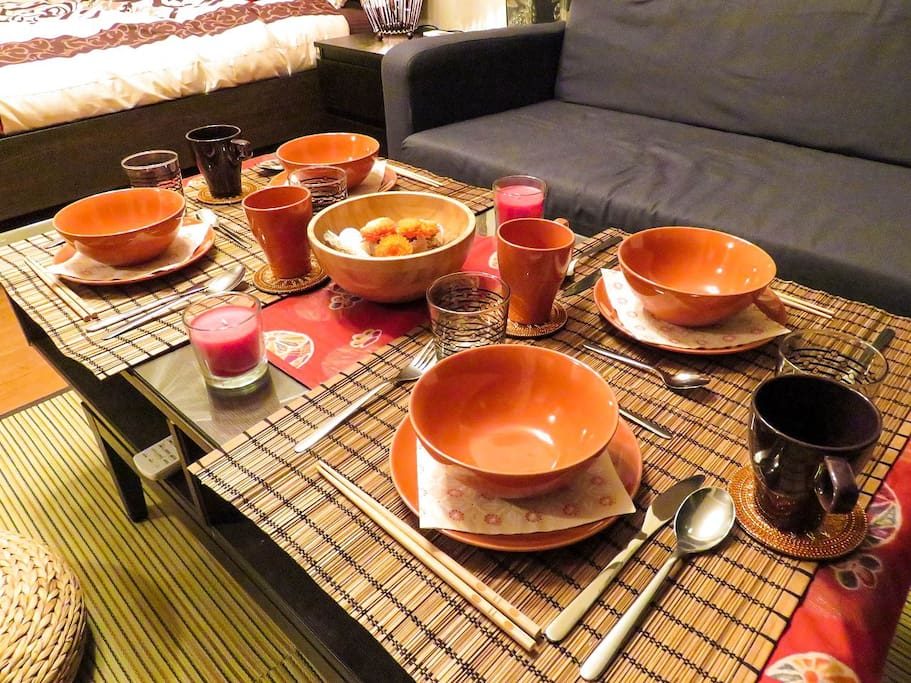 Close up of the tableware