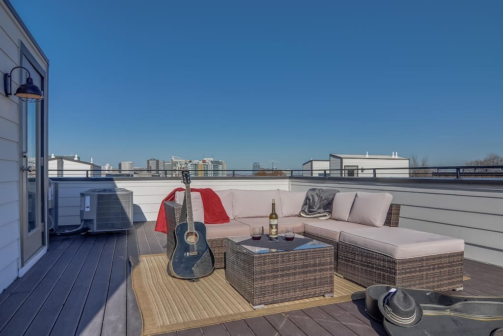 The wicker lounge on the roof provides a flawless entertaining space.