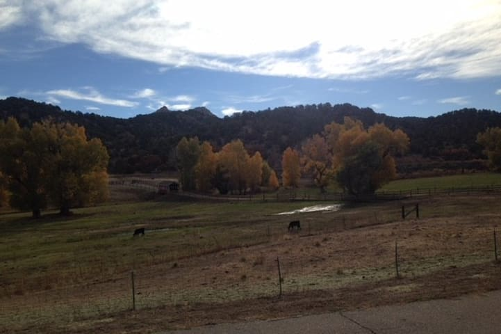 Stagecoach Ranch entrance complimented by the beautiful fall colors.