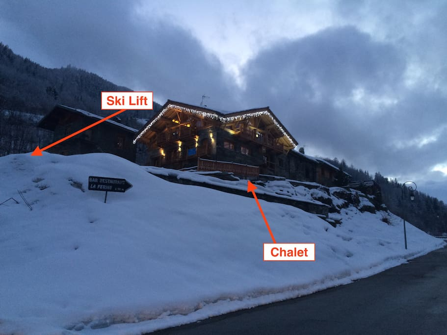 A view of the outside of the Chalet building