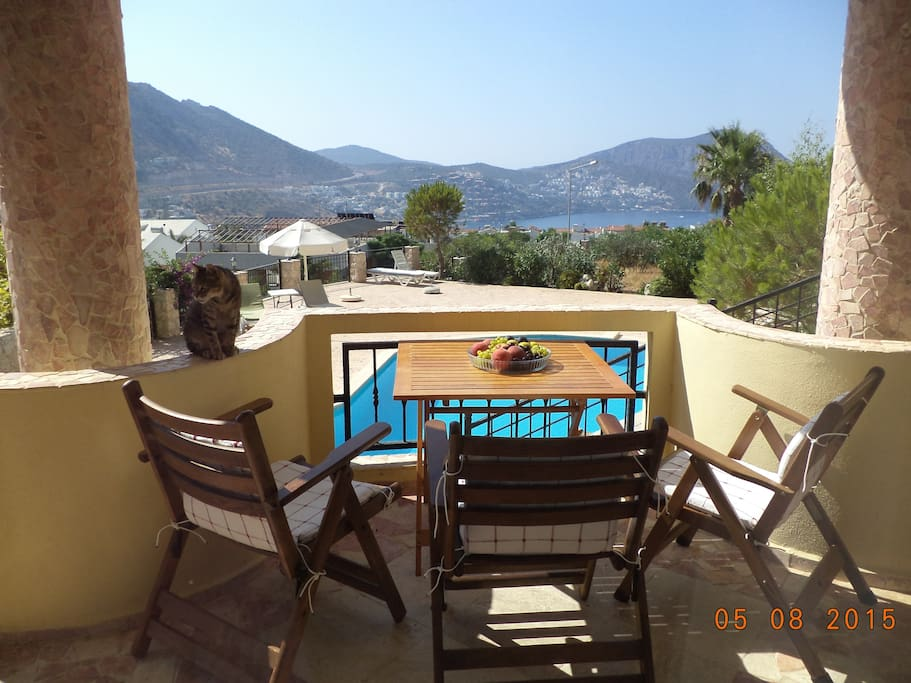 Relaxing with gorgeous Kalkan Bay  and pool view