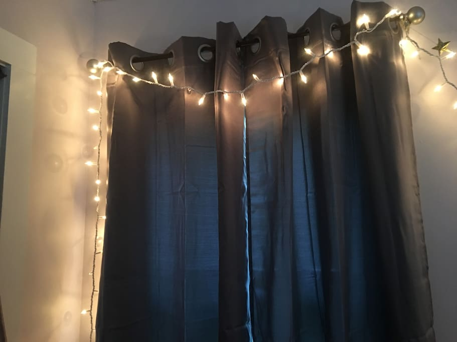 Deep gray black out drapes to make sure you sleep well.