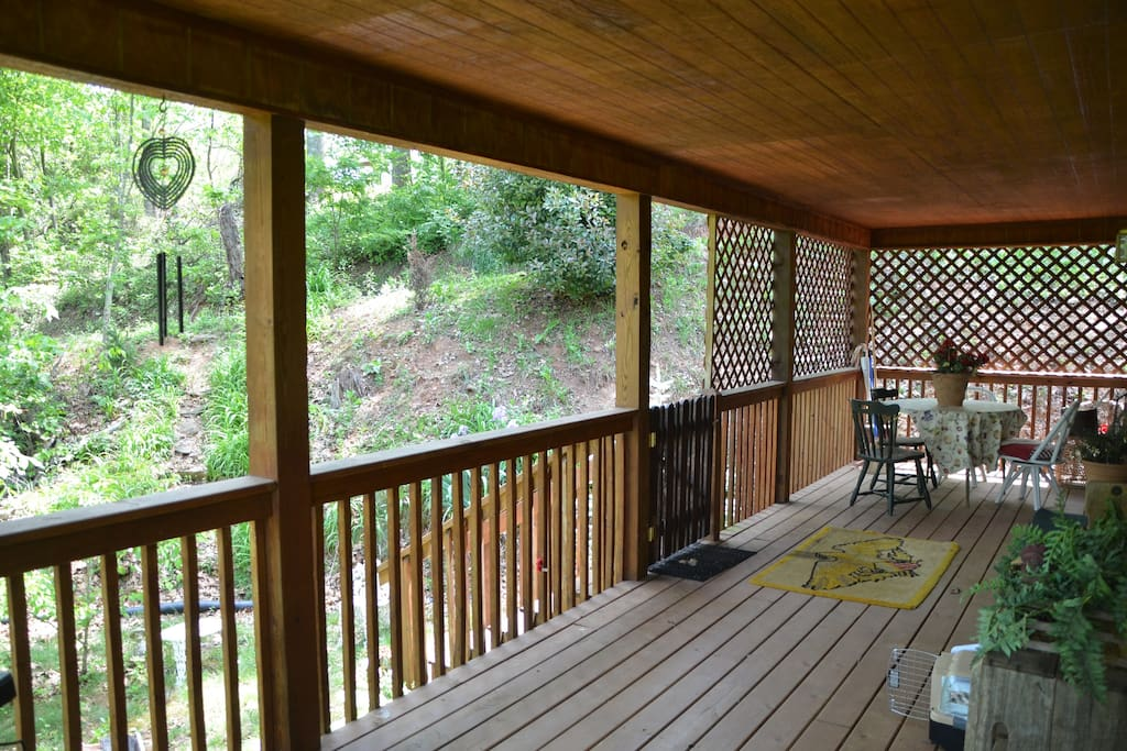 Covered porch area for relaxing.