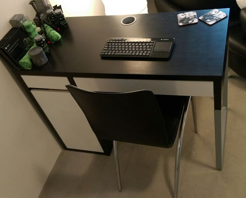 Help yourself to our desk for any unfinished business!