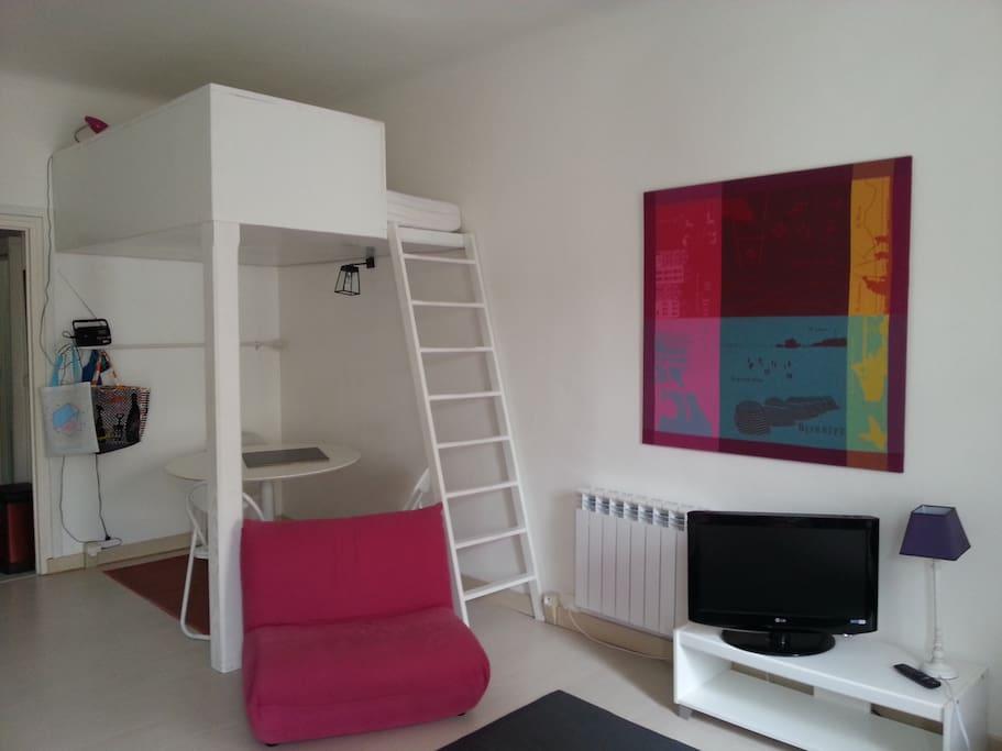 Mezzanine avec lit double