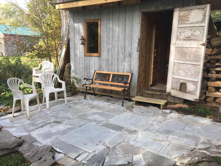 Back patio and sauna