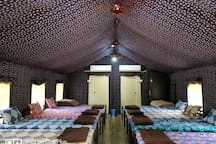 Inside Dormitory ( Capacity 18- 20 people in one tent)