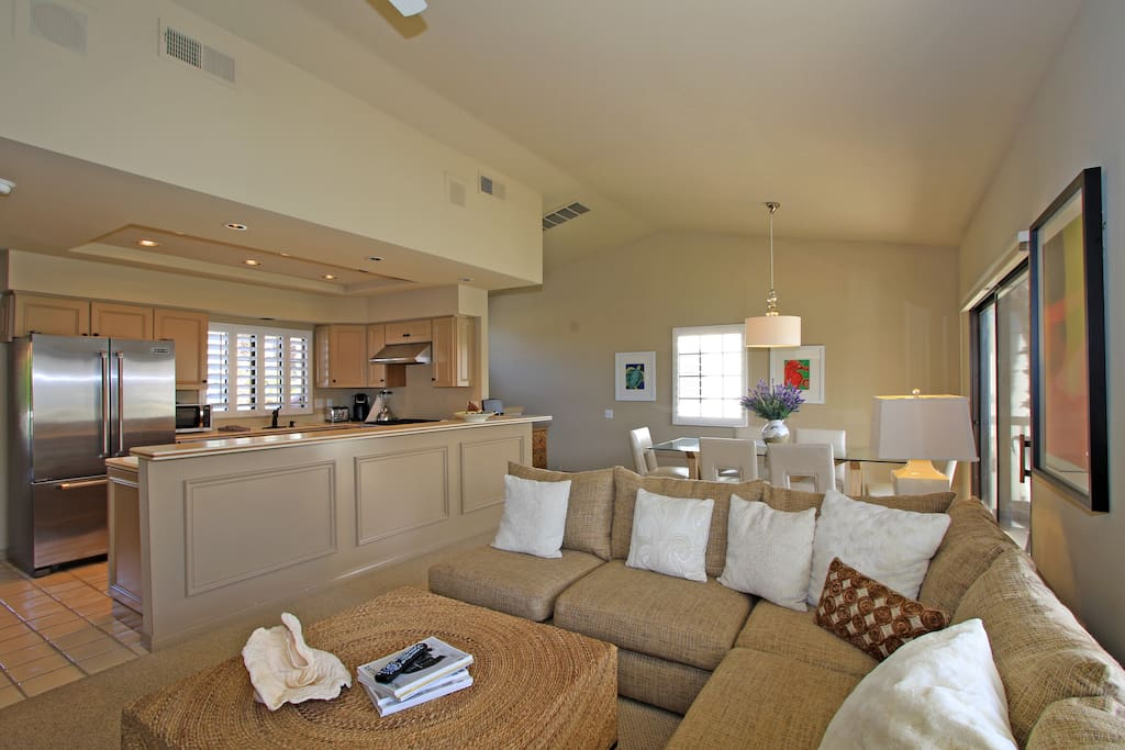 Living area with a view of the kitchen