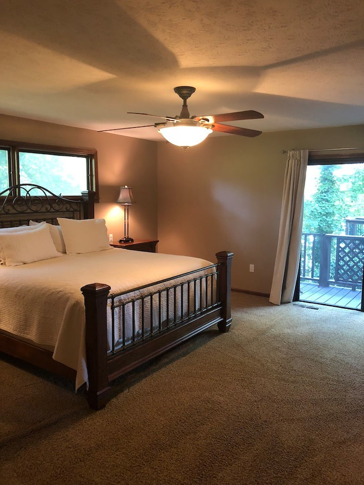 Main level king bedroom with private bath.