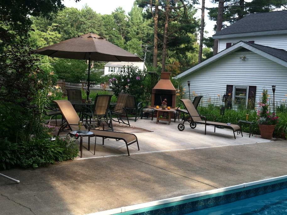 Pool Deck with Fireplace
