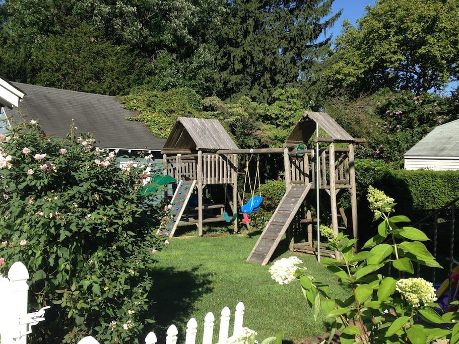 Backyard with swingset