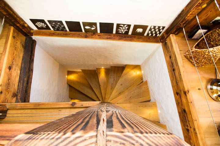 Warm, Natural wood is a key element of our beautiful chalet