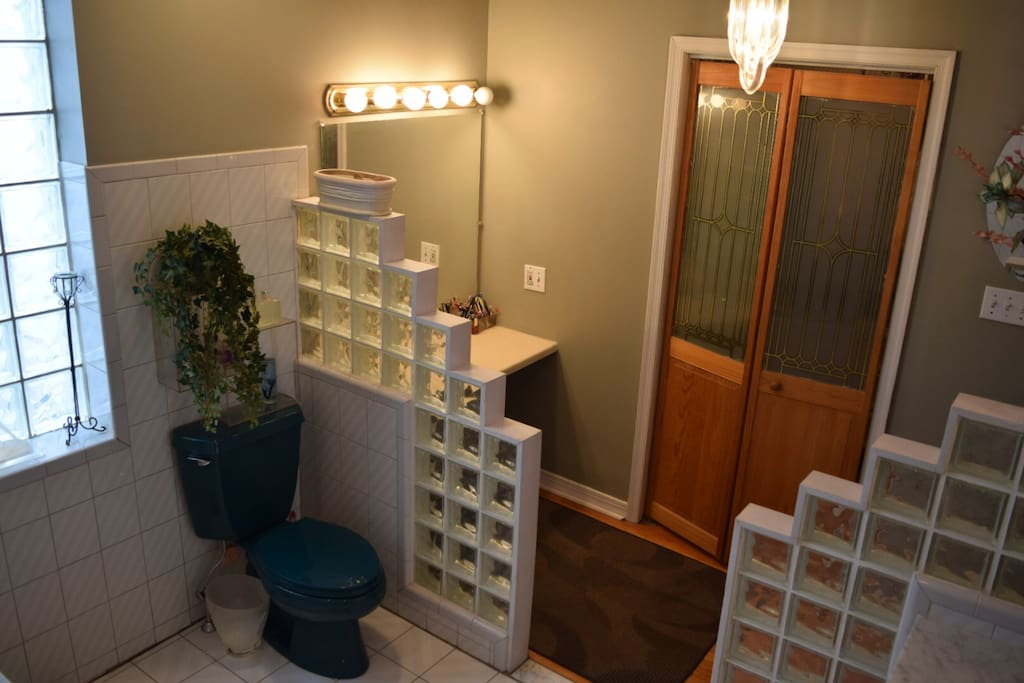 Master bath with makeup area and closet