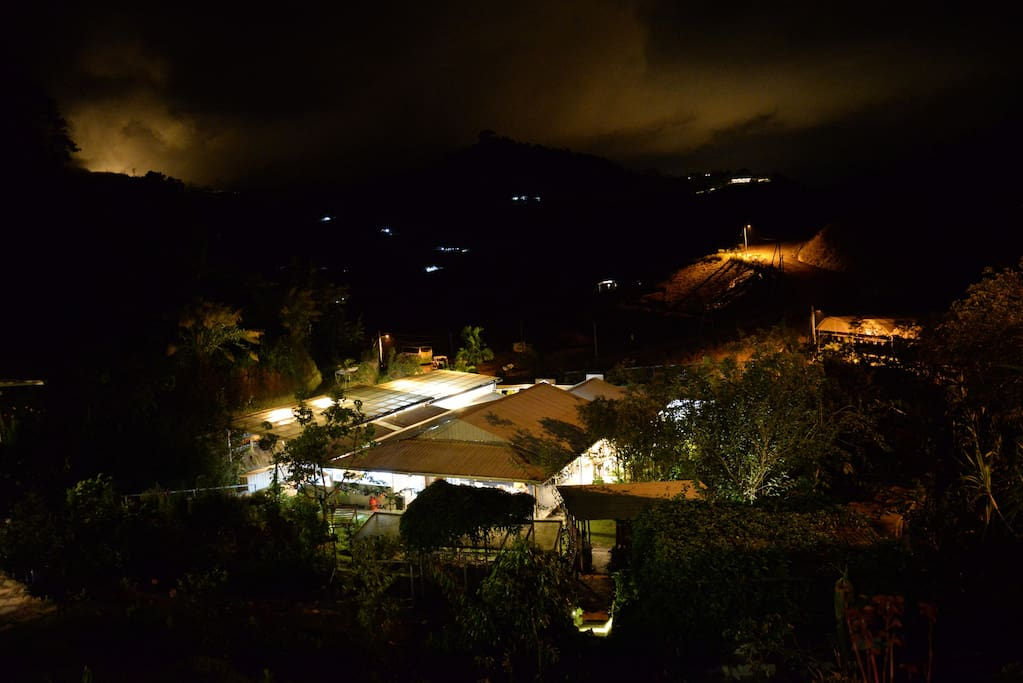 View of Main Lodge at night
