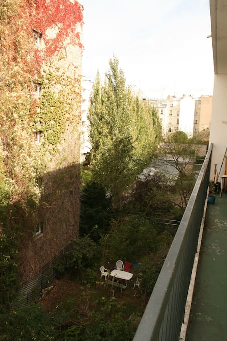 The balcony, with the backyard view