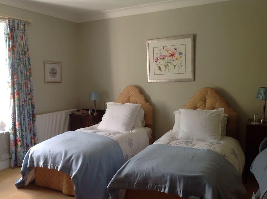Comfy warm twin beds await