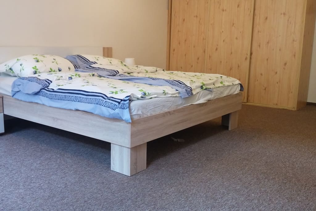 bed is 180 on 200 in  cm. Its new bed with new mattress.