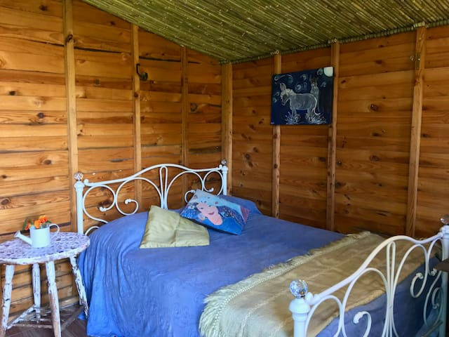 Double bed for relaxing after a walk into the Nearby Nature Reserve.
