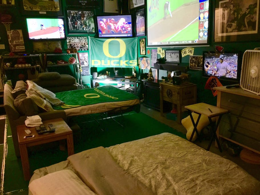 The Man Cave sleeps four comfortably with a sleeper and a queen air mattress.