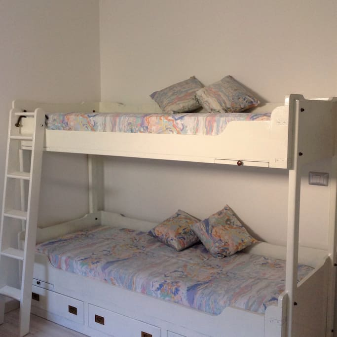2nd bedroom  with 3 single beds.