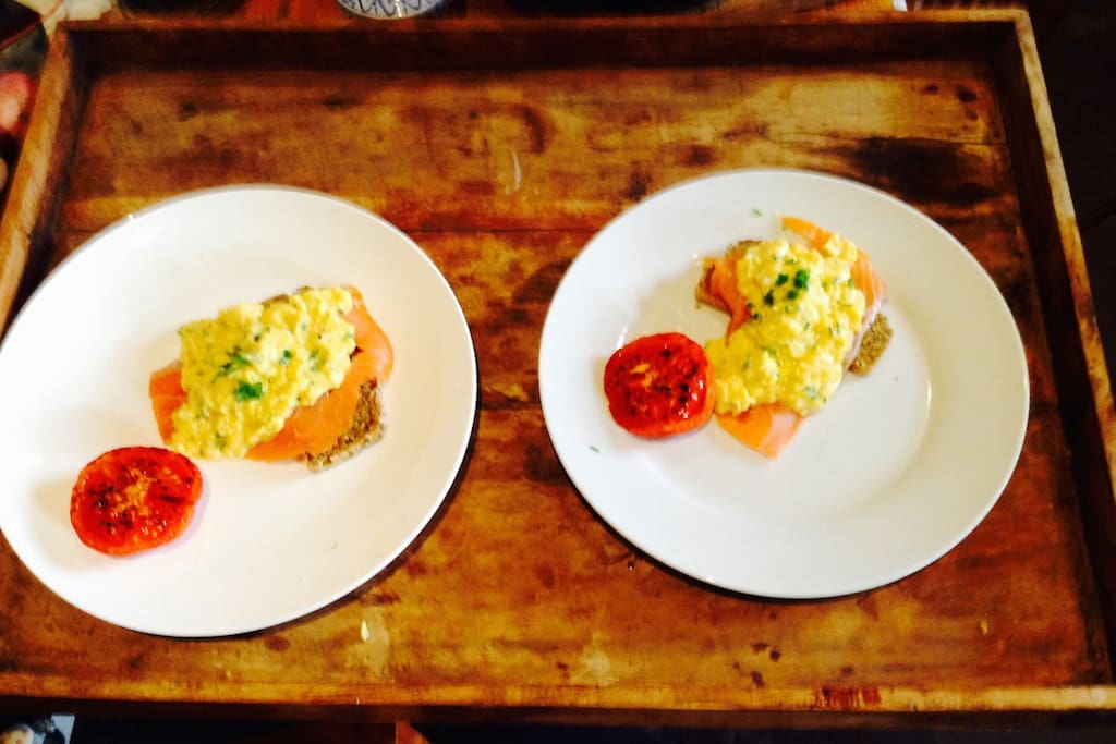 Delicious Smoked Salmon & Dunworley Eggs for Breakfast. Have this treat delivered to your cottage along with Brown Soda Bread & Dunworley Cottage Jams, Freshly Squeezed OJ & Freshly brewed Coffee/Tea for €15 pp.