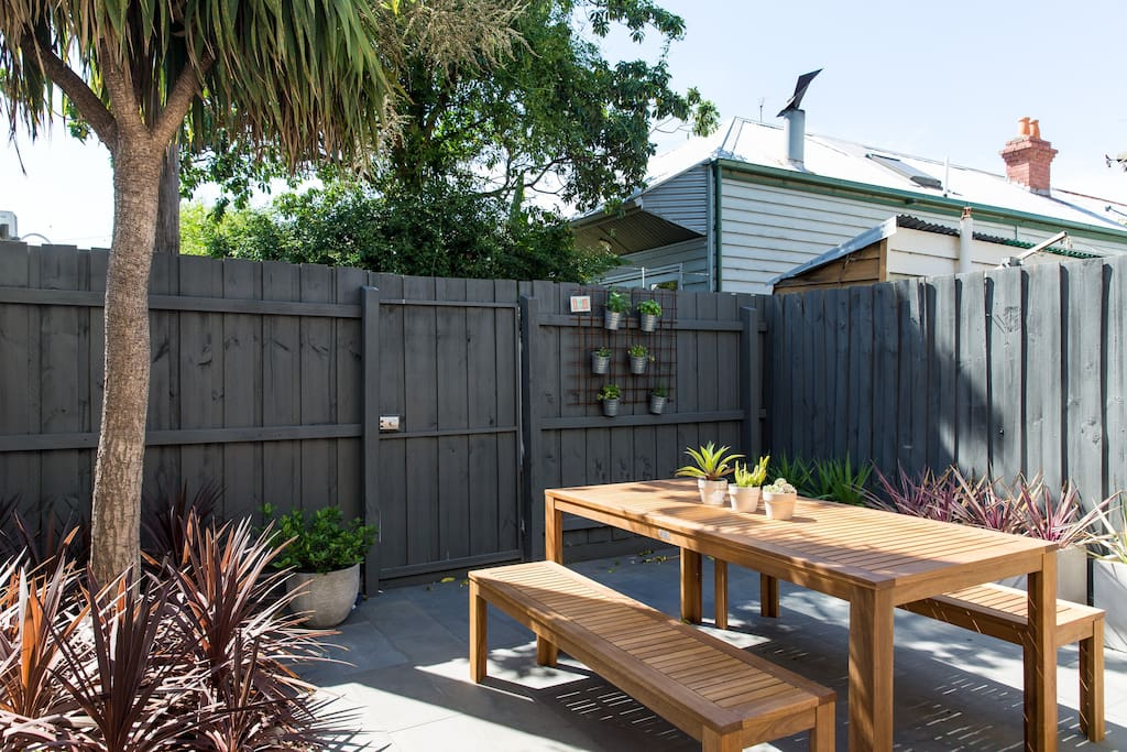 Spacious north-facing courtyard with BBQ. Perfect for entertaining.
