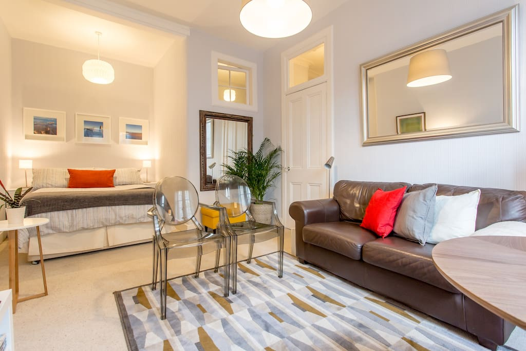 The living room area has been carefully designed with many personalised features to make you feel welcome and have a relaxing time