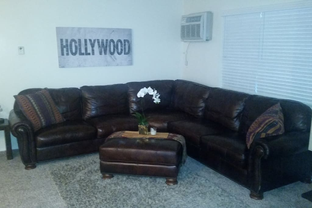 Lange and super comfortable leather sectional.