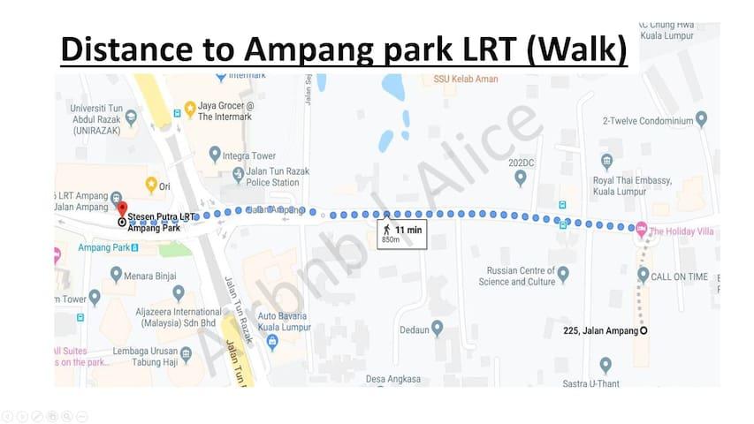 ~11 minutes Walking to Ampang Park LRT station