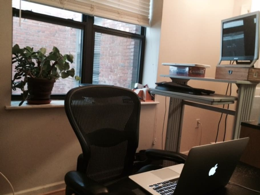 Desk and high-speed Internet.