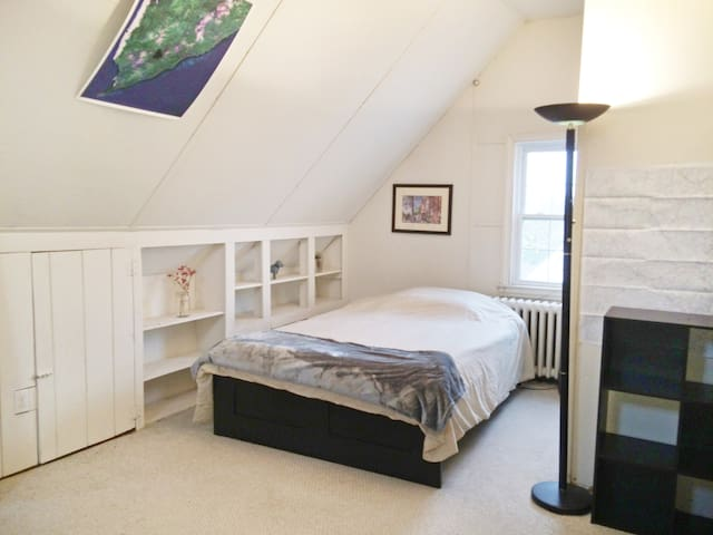 bright, attic room, walk everywhere