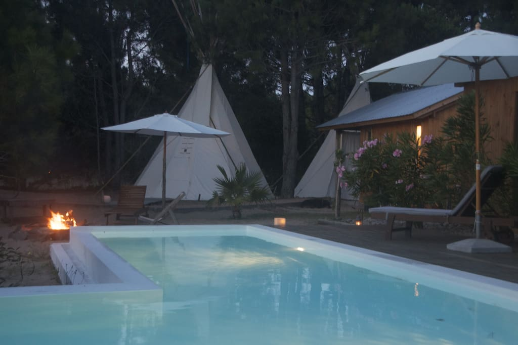 tipis and pool area
