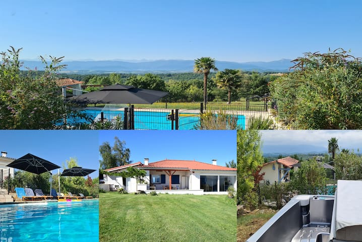 Luxe,  jacuzzi, zwembad + uitzicht op de bergen!