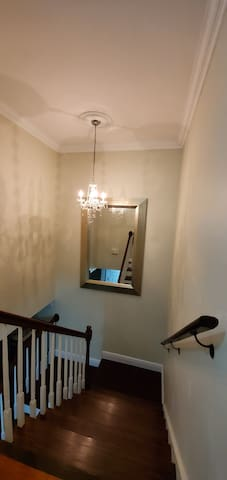 Upstairs looking down. Please do not touch our picture frames or mirrors