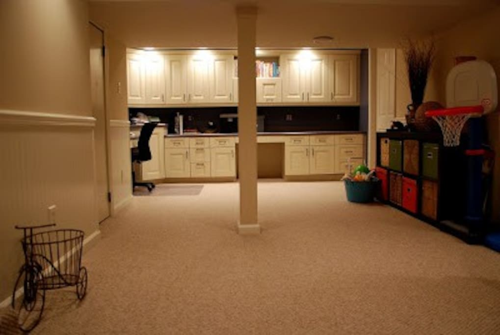 Large basement with plenty of space for kids to play or adults to relax.