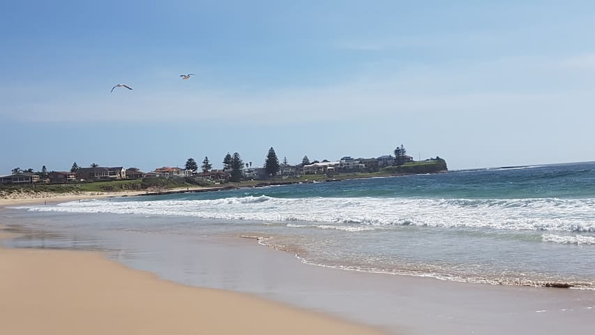 Shellharbour North Beach is about 8 minutes walk through the back gate, or 2 minutes drive.  Beautiful, Patrolled beach